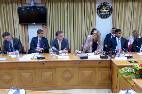 The UNSGSA discussed financial inclusion in India during a July 2014 meeting with Reserve Bank Governor Raghuram Rajan and members of her Reference Group.
